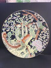 """Large Plate 18"""" Porcelain Charged Floral Birds Design"""