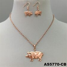 Country Animal Pig Pendant Copper Finish Necklace & Earrings Set