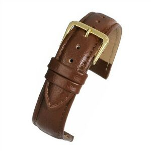 Mens 18mm genuine real leather brown watch strap band padded buffalo grain