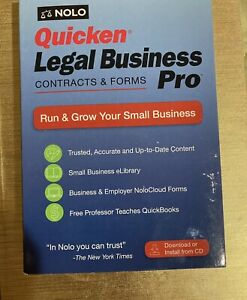 Quicken Legal Business Contracts and Forms Pro 2018 Nolo CD and Download