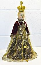 "* Enfant Of Prague Christ Child Doll Wax & Wood Ufdc 3rd Plc Winner 1966 15"" *"