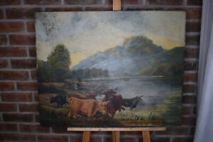 Old Antique Oil Painting On Canvas of Landscape Farming Cows