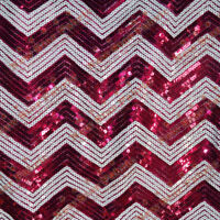 "Chevron Zigzag Sequin Fabric 55"" Width By The Yard Fuchsia / White"