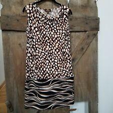 Victor Alfaro stretch sheath Dress drape Neck leopard print Sleeveless Size Med