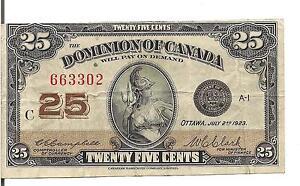 DOMINION of CANADA, 25 CENTS, 1923 ,CUTTING ERROR