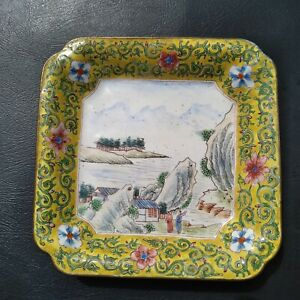 Antique Vintage Chinese Canton Yellow Enamel Landscape Famille Rose Dish Tray
