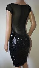 VICKY MARTIN sexy sequin black sheer backless fitted cocktail dress BNWT 10 12