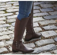 Vince Camuto Wide Calf 12W  Brown Leather Tall Shaft Boots Pauletta A344097 QVC