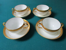Mintons England 4 Cream Soup Buillion Cups And Saucers 8 Pcs [*59B]