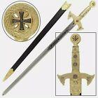 Knights Templar Medieval Replica Longsword - Gold for sale