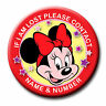 PERSONALISED DISNEY / DISNEYLAND LOST CHILD CONTACT NAME BADGES 58MM or 77MM