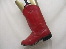 Laredo Red Leather Roper Cowboy Western Boots Womens Size 9 M Style 6917 USA