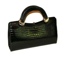 Vintage Black Patent Leather Croc Print Bag Handbag 1970's