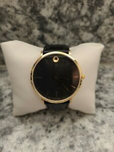 Movado Ultra Slim Black Gold Sunray Dial Men's Watch 0607087