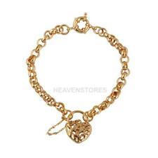 Carved Heart Pendant Bracelet Woman Fashion Jewelry 18K Gold Filled  hv2n
