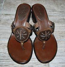 "COLE HAAN Brown Leather Thong Slide Sandals 2.5"" Block Heels size 8.5M"