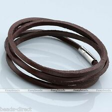Womens Mens 3MM  Multilayer Wraps Genuine Leather Surfer Bracelet Wristband Cuff