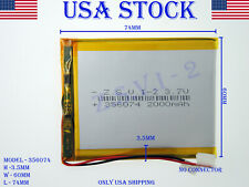 3.7V 2000mAh 356074 Lithium Polymer LiPo Rechargeable Battery (USA STOCK)
