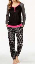 Dkny Hart Print Pants Pj Set in Black & Grey & Pink Top Size Medium