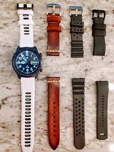 Ticwatch Pro 3 with 4 Bands (Black, White, Brown Leather, & Black)