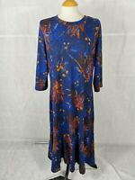 Ladies Dress Size M 14 16 Blue Knit Midi Smart Casual Day Party