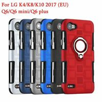For LG K4 K8 K10 2017 Q6 Shockproof TPU 360 Degree Ring Holder Stand Case Cover