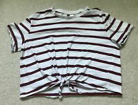 H&M Divided Womens Shirt Top Size Sz L Red  White Blue Crop Striped Women's
