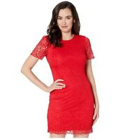 Laundry By Shelli Segal Lace Short Sleeve Mini red Dress 200$ size 12