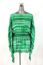 NEW $110 womens green white MICHAEL KORS shirt top batwing dolman modern L XL