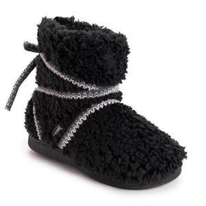 Muk Luks Black Strappy Indoor/Outdoor Bootie Slippers - Women's 11/12