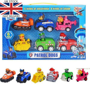 6 PCS Racer Car Paw Patrol Dog Marshall Rubble Rocky Chase Skye Kids Toys Gifts