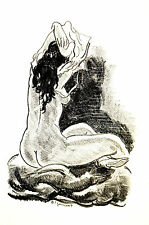 Andre Dignimont NUDE WOMAN Sitting w LONG DARK HAIR 1925 Art Print Matted