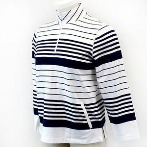 TALBOTS Plus White Navy Stripe Half Zip Pockets Long Sleeve Pullover TOP 3X
