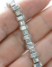 "Solid 925 Sterling Silver Clear Buguette CZ Tennis Bracelet  7.25"" L ."