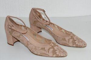NEW Manolo Blahnik LISTONY Lace Block Heel Ankle Strap Pumps Beige Shoes 42