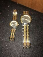 Women's & Mens Geneva Watch  Silver/Gold-tone Band Used.For Parts