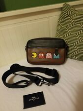 Coach Graham Pac-Man Motif Saddle Leather Crossbody Bag F72921 Limited Edition