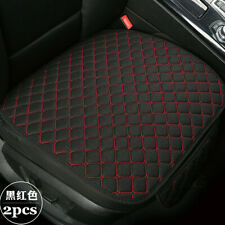 2Pcs Black&Red Breathable Linen Car Seat Cover Front Seat Cushion Protector