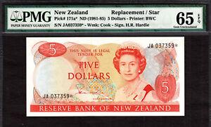 New Zealand $5 REPLACEMENT // STAR 1981-85 Prefix JA P-171a* GEM UNC PMG 65 EPQ