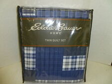 EDDIE BAUER TWIN QUILT SET EASTMONT BLUE PATCHWORK/ PLAID  100% COTTON