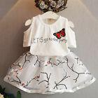 2PCS Enfants Bébé Fille T-shirt Haut+Jupe Fleurs Robe Tenues Vêtements Ensemble