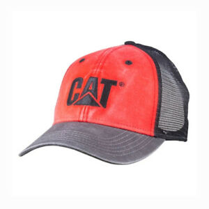 Caterpillar CAT Hat Faded Pigment Washed Cap Red w/ Black Mesh