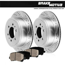 Rear Drill Slot Brake Rotors Ceramic Pads For Chevy Tahoe Silverado Sierra Yukon