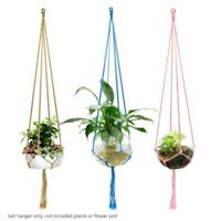 rural cotton knitted plant hanger hanging planter basket colorful rope 4 legs 2