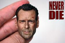 "1:6 Bruce Willis battle damaged head Sculpt F 12"" Hot Toys Figure"