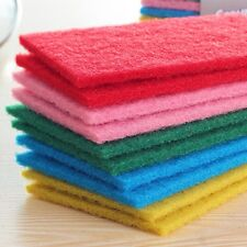 10pcs Scouring Pads Cleaning Cloth Dish Towel Colorful Home Scour Scrub Set New.