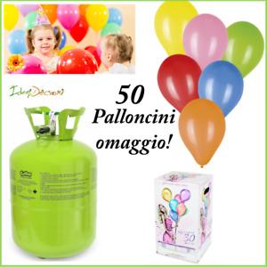 Bombola elio per 30 palloncini omaggio 50 palloncino gas bomboletta compleanno