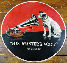 """RCA VICTOR PHONOGRAPHS RECORD PLAYER NIPPER DOG 14"""" ROUND HEAVY DUTY METAL SIGN"""