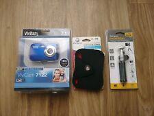 Kids Vivitar ViviCam Camera Blue 7122 4X zoom. 7.1 MP w/ Camera Case & Tripod