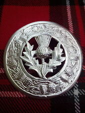 Scottish Kilt Fly Plaid Brooch Thistle Crest Silver Plated/Fly Plaid Brooche